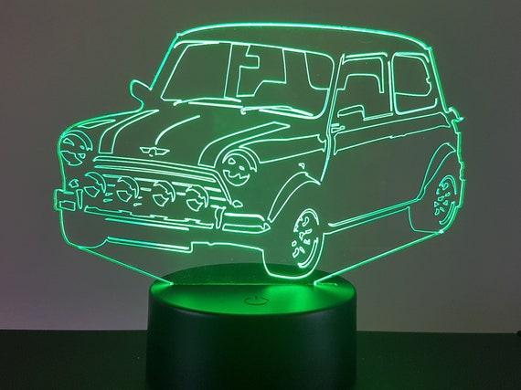 AUSTIN MINI COOPER - Mood lamp 3D led, laser engraving on acrylic, usb cable or battery power.