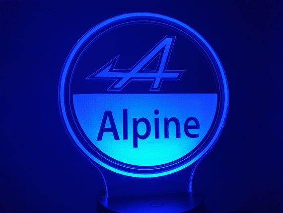 RENAULT LOGO Alpine-led 3D ambient lamp, laser engraving on acrylic, battery power or USB cable