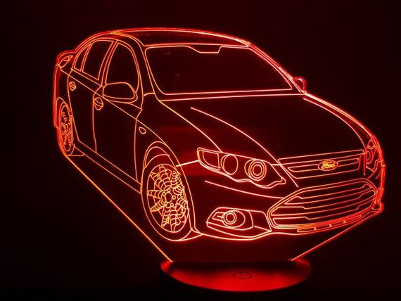 FORD FALCON-led 3D ambient lamp, laser engraving on acrylic, battery power or USB cable.
