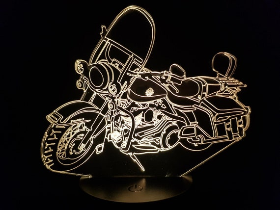 MOTORCYCLE HARLEY road king - mood lamp 3D led, laser engraving on acrylic, usb cable or battery power.