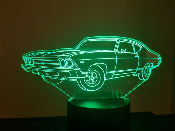 1969 CHEVROLET - Mood lamp 3D led, laser engraving on acrylic, usb cable or battery power.