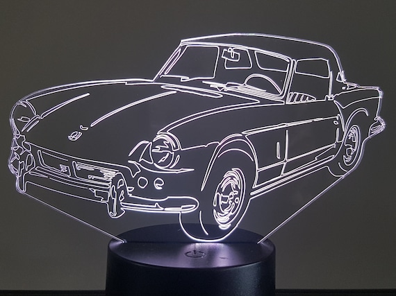 TRIUMPH SPITFIRE - Mood lamp 3D led, laser engraving on acrylic, power by USB cable or batteries