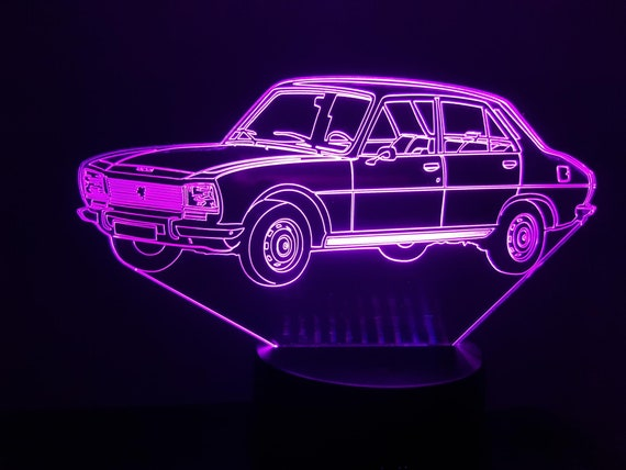 PEUGEOT 504 - Mood lamp 3D led, laser engraving on acrylic, power by USB cable or batteries