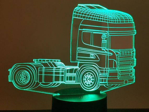 "TRUCK ""Scania"" (1) - mood lamp 3D led, laser engraving on acrylic, power by USB cable or batteries"