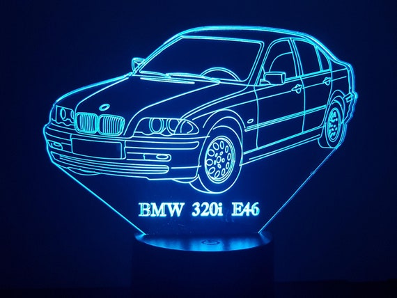 BMVV 320i E46 - 3D LED ambient lamp, laser engraving on acrylic, battery power or USB cable