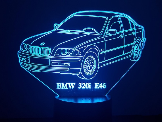 BMW 320i E46 - mood lamp 3D led, laser engraving on acrylic, power by USB cable or batteries