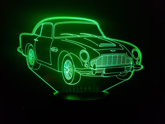 ASTON MARTIN DB5 - Mood lamp 3D led, laser engraving on acrylic, usb cable or battery power.