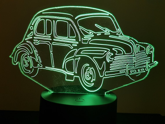 """RENAULT 4CV """"6 whiskers"""" - mood lamp 3D led, laser engraving on acrylic, power by USB cable or batteries"""