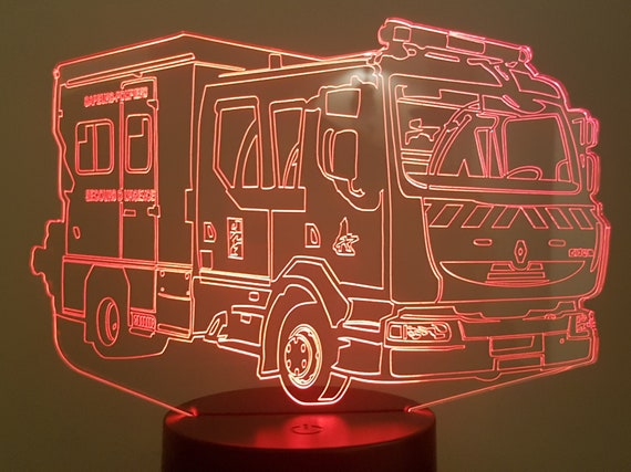 PSE5G fire truck - Mood lamp 3D led, laser engraving on acrylic, usb cable or battery power.