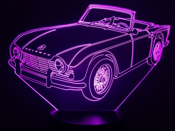 TRIUMPH TR4 - Mood lamp 3D led, laser engraving on acrylic, usb cable or battery power.