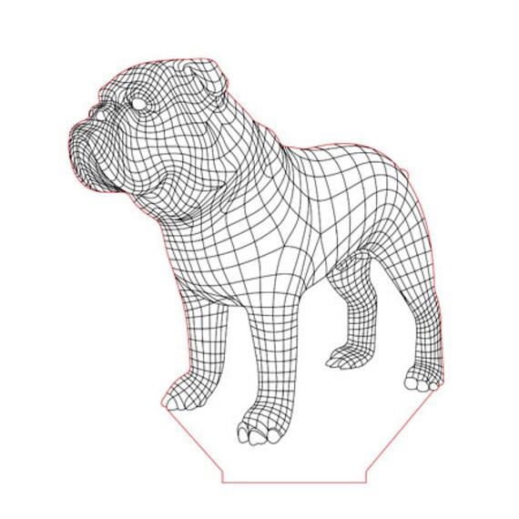 Lamp 3D pattern: English bulldog dog