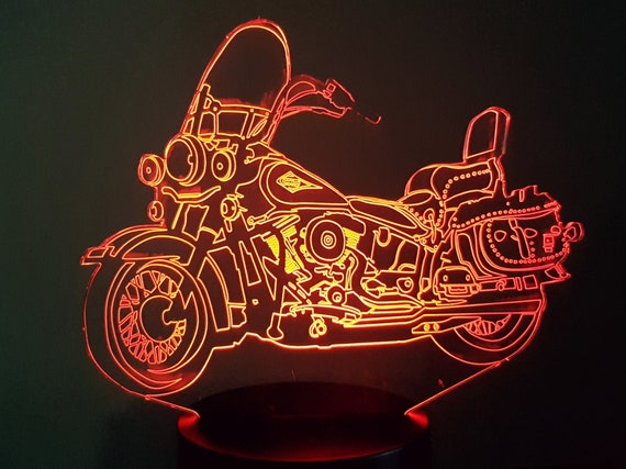 MOTORCYCLE HARLEY SOFTAIL - Mood lamp 3D led, laser engraving on acrylic, usb cable or battery power.