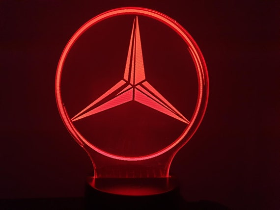 MERCEDES (L)-led 3D ambient lamp, laser engraving on acrylic, battery power or USB cable