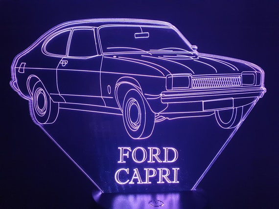 FORD CAPRI 1974-led 3D ambient lamp, laser engraving on acrylic, battery power or USB cable