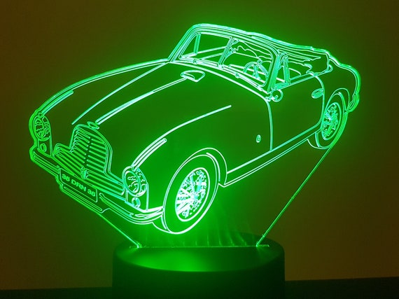 ASTON MARTIN DB2 - Mood lamp 3D led, laser engraving on acrylic, usb cable or battery power.