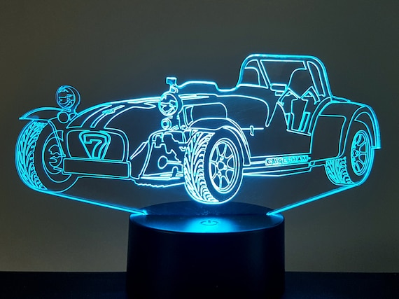 CATERHAM (SEVEN) - Mood lamp 3D led, laser engraving on acrylic, power by USB cable or batteries