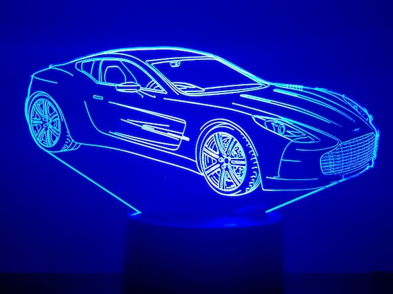 ASTON MARTIN ONE-77 - mood lamp 3D led, laser engraving on acrylic, usb cable or battery power.