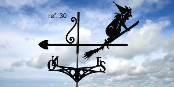 Weathervane with roof witch on broom