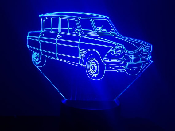 Citroen AMI6 - Mood lamp 3D led, laser engraving on acrylic, power by USB cable or batteries