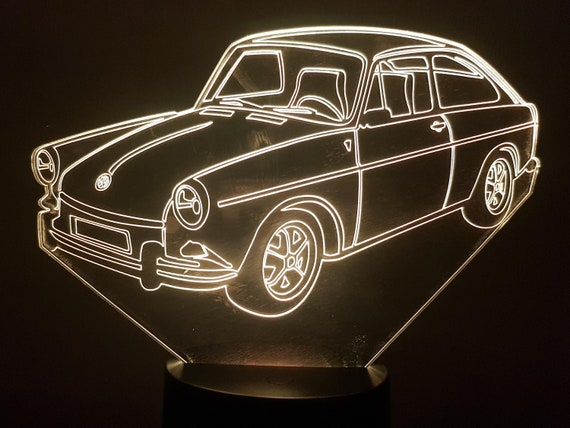 VW Volkswagen 1600 TL fastback 1968 - a lamp 3D led, laser engraving on acrylic, power by USB cable or batteries
