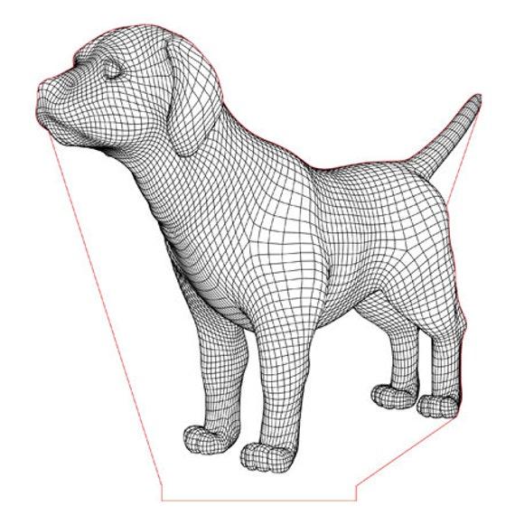Lamp 3D pattern: baby Labrador dog