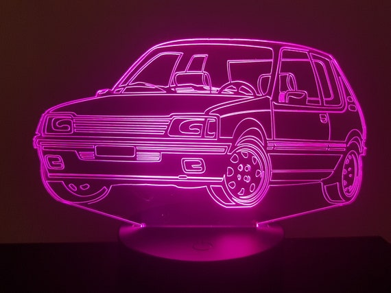 PEUGEOT 205 GTI mood lamp 3D led, laser engraving on acrylic, power by USB cable or batteries