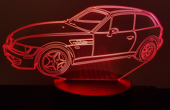 BMW Z3 cut - mood lamp 3D led, laser engraving on acrylic, power by USB cable or batteries