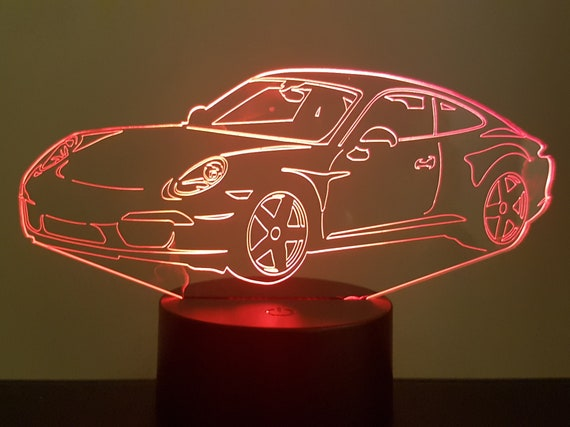 PORSCHE 911 991 Cup - mood lamp 3D led, laser engraving on acrylic, power by USB cable or batteries