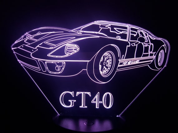 FORD GT40 - Mood lamp 3D led, laser engraving on acrylic, power by USB cable or batteries