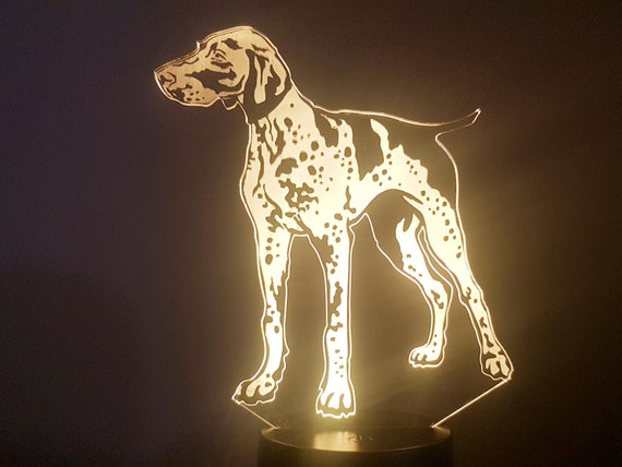 WEIMARANER dog - Mood lamp 3D led, laser engraving on acrylic, power by USB cable or batteries