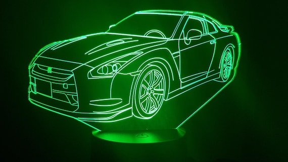 Nissan GTR 35 - Mood lamp 3D led, laser engraving on acrylic, power by USB cable or batteries