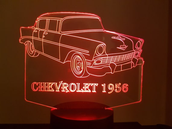 1956 CHEVROLET - Mood lamp 3D led, laser engraving on acrylic, usb cable or battery power.