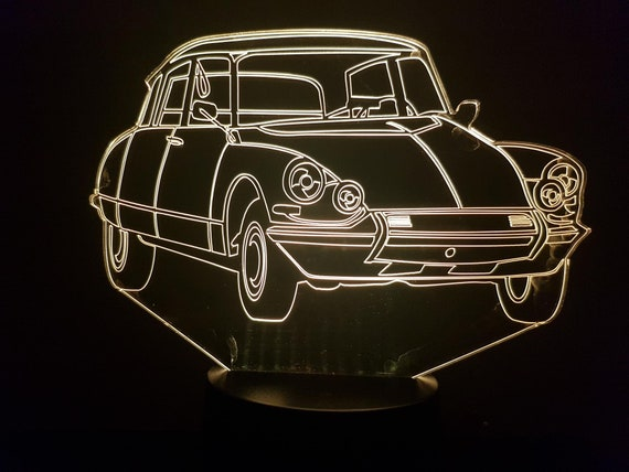 Citroen DS19 4 lighthouses - mood lamp 3D led, laser engraving on acrylic, power by USB cable or batteries