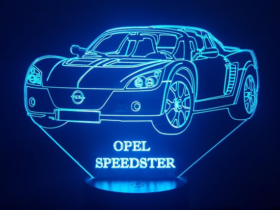 OPEL SPEEDSTER - Mood lamp 3D led, laser engraving on acrylic, power by USB cable or batteries