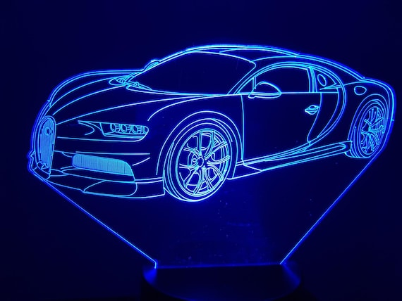 BUGATTI CHIRON - Mood lamp 3D led, laser engraving on acrylic, power by USB cable or batteries