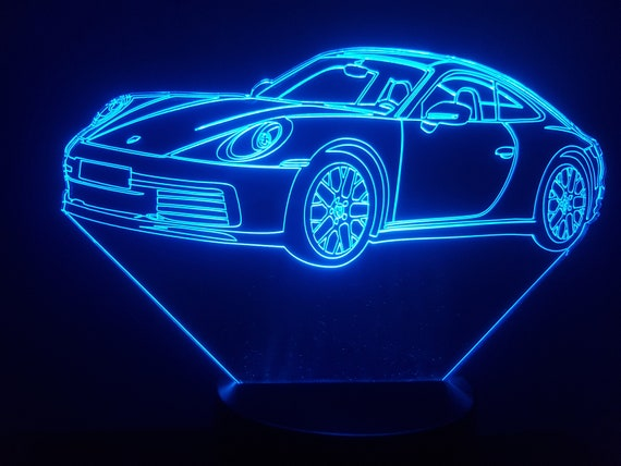 PORSCHE 911 992 - mood lamp 3D led, laser engraving on acrylic, power by USB cable or batteries