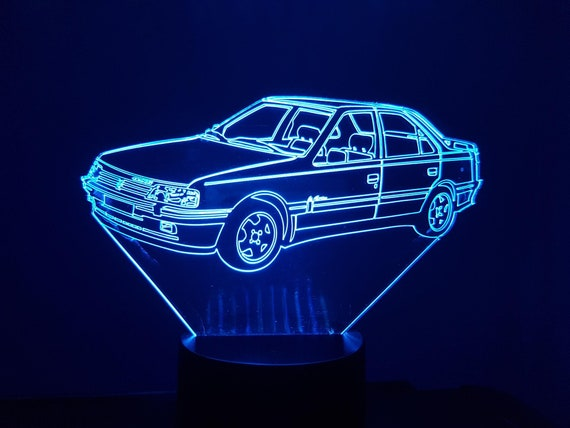 PEUGEOT 405 MI 16 - Mood lamp 3D led, laser engraving on acrylic, power by USB cable or batteries