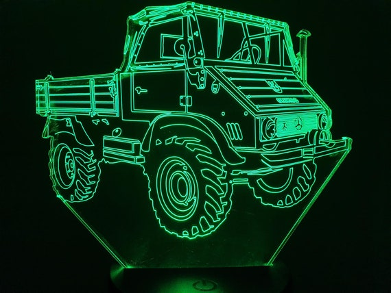 MERCEDES UNIMOG 411 - Mood lamp 3D led, laser engraving on acrylic, power by USB cable or batteries