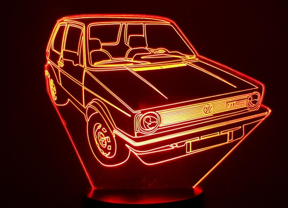 VOLKSWAGEN GOLF 1 GTI - vw - mood lamp 3D led, laser engraving on acrylic, usb cable or battery power.