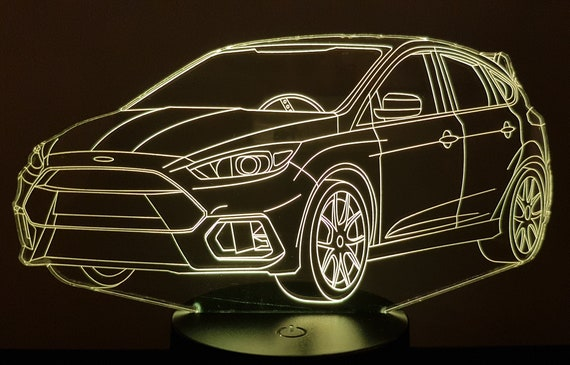 FORD FOCUS RS - Mood lamp 3D led, laser engraving on acrylic, usb cable or battery power.