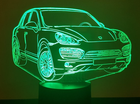 PORSCHE CAYENNE - Mood lamp 3D led, laser engraving on acrylic, power by USB cable or batteries