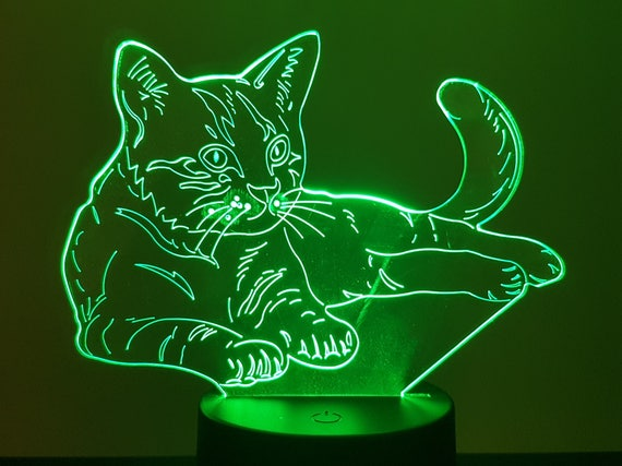 Lamp 3D design: cat lying down