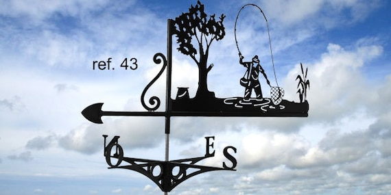 Weathervane with roof fly fisherman