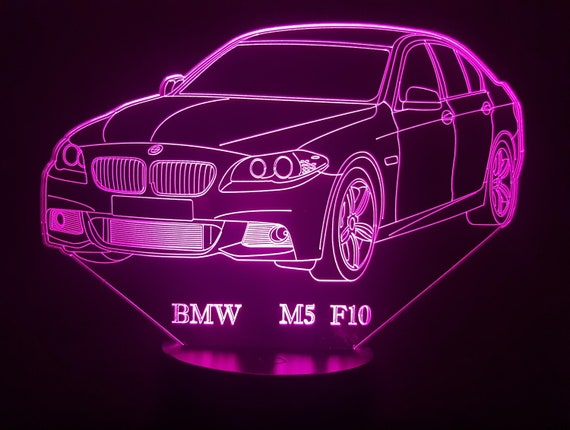 BMW M5 F10 - Mood lamp 3D led, laser engraving on acrylic, power by USB cable or batteries