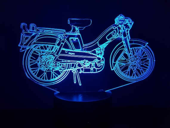 Moped blue MOTOBECANE - mood lamp 3D led, laser engraving on acrylic, usb cable or battery power.