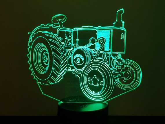 TRACTOR VIERZON 302 (French society) - mood lamp 3D led, laser engraving on acrylic, power by USB cable or batteries