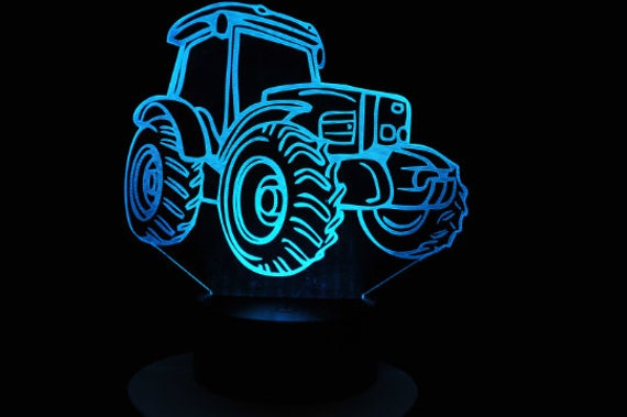 TRACTOR - Mood lamp 3D led, laser engraving on acrylic, usb cable or battery power.