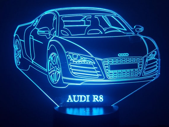 AUDI R8 compatible design - 3D LED ambient lamp, laser engraving on acrylic, battery power or USB cable