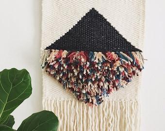 Large Diamond Contrast Fringe Woven Wall Hanging