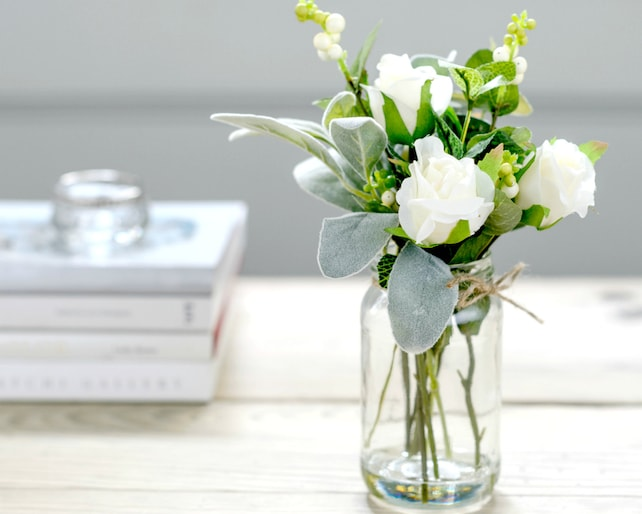 Artificial white flowers in vintage style vase silk roses etsy image 0 mightylinksfo